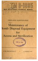 Cover of: Maintenance of Bomb Disposal Equipment for Access and Sterilization